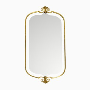 Large Mid-Century Brass Wall Mirror