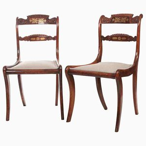 Regency Brass Inlaid Chairs, Set of 2