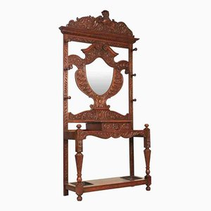 Antique Carved Oak Hall Stand