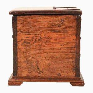 Honey Oak Linen Fold Coal Box, 1950s