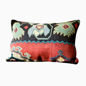 Blue, Red, Green, & Black Embroidered Wool Lumbar Kilim Pillow by Zencef, 2017