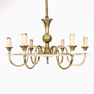 Vintage French Brass Hoop Chandelier with Perspex Detail