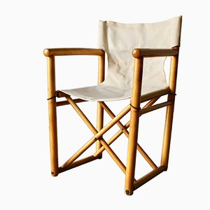 Mid-Century Safari Sessel mit Leinensitz, 1950er