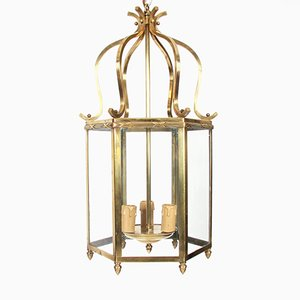 Hexagonal Mid-Century French Brass Lantern