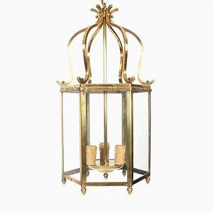Hexagonal Mid-Century French Brass Lantern