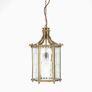 French Faux Bamboo Brass Lantern, 1950s