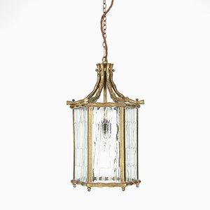 French Faux Bamboo Brass Lantern, 1950s