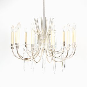 French Oversized Icicle Drops Chandelier, 1960s