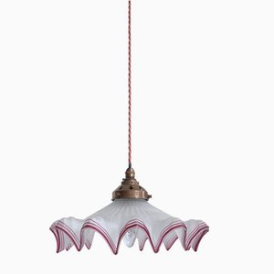 French Frosted Frill Pendant with Burgundy Edge, 1930s
