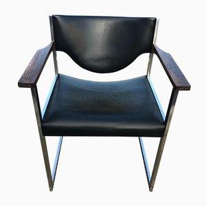 Chaise de Bureau Vintage en Palissandre et Cuir de Lübke