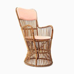 Italienischer Armlehnstuhl aus Rattan von Dal Vera, 1950er