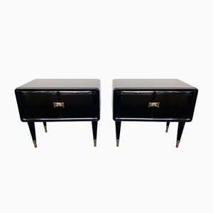 Italian Lacquered and Bronze Nightstands by Vittorio Dassi, 1950s, Set of 2
