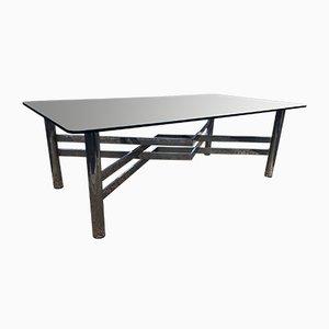Tavolino da caffè grande vintage in metallo cromato e vetro fumé