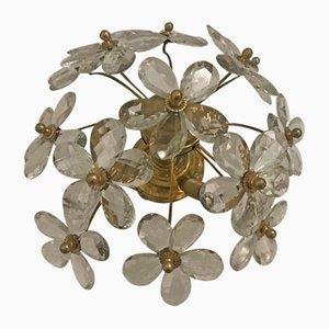 Vintage Einbaulampe aus Muranoglas in Blumen-Optik