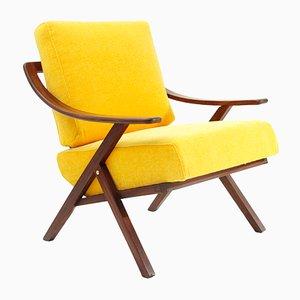 Italienischer Mid-Century Sessel mit gelbem Bezug, 1960er