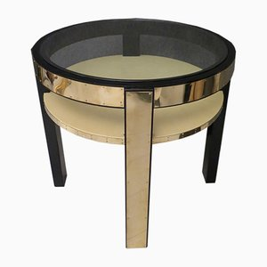 Round Mid-Century Italian Goatskin, Brass & Glass Side Table, 1940s