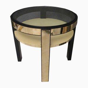 Tavolino Mid-Century rotondo in pelle di capra, ottone e vetro, anni '40
