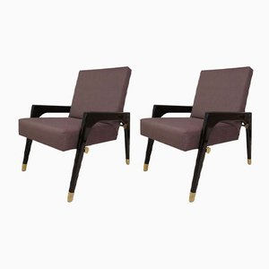 Mid-Century Italian Wood, Fabric, & Brass Lounge Chairs, 1950s, Set of 2