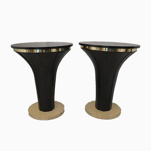 Round Mid-Century Goatskin & Brass Side Tables, 1940s, Set of 2