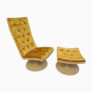 Mid-Century Yellow Velvet Chair & Pouf, 1970s, Set of 2