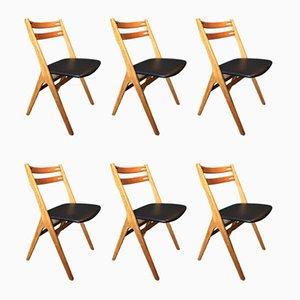 Chaises de Salle à Manger en Chêne et Cuir par Arne Vodder pour Sibast, 1950s, Set de 6