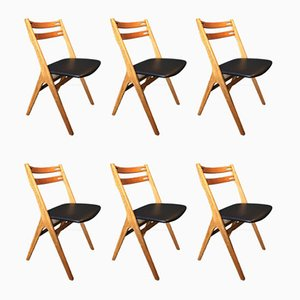 Oak and Leather Dining Chairs by Arne Vodder for Sibast, 1950s, Set of 6