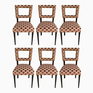 Art Deco Style Brown Geometric Velvet Chairs, 1940s, Set of 6