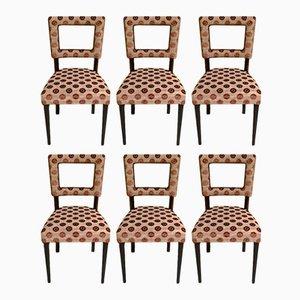 Chaises Géométriques de Style Art Déco en Velours Marron, 1940s, Set de 6