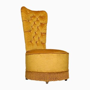 Vintage Gold Velvet Slipper Chair with Storage, 1950s