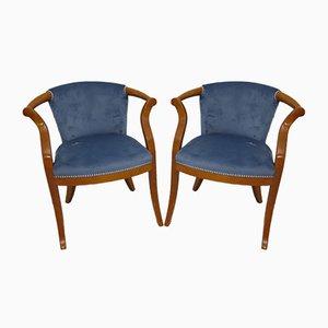Italienische Mid-Century Sessel mit Gestell aus Kirschholz & blauem Samtbezug, 1950er, 2er Set
