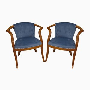 Mid-Century Italian Cherrywood & Blue Velvet Lounge Chairs, 1950s, Set of 2