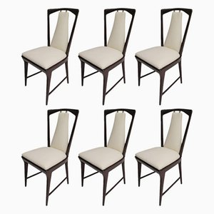 Italian Mahogany and Leather Chairs, 1950s, Set of 6