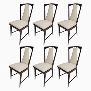 Italienische Stühle mit Gestell aus Mahagoni & Sitz aus Leder, 1950er, 6er Set