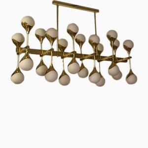 Mid-Century Italian Brass & Glass Chandelier, 1980s