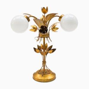 Lámpara de mesa con tres luces de pan de oro de Hans Kögl, años 70