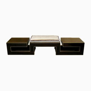 Mid-Century Italian Macassar & Brass Bench, 1960s