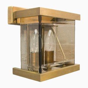 Applique in vetro fumè ed ottone di WKR, anni '70, set di 2