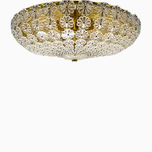 Large Mid-Century Modern Floral Glass Wall and Ceiling Lamp, 1960s