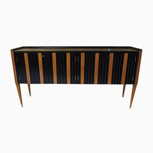 Italian Art Deco Cherry & Black Lacquer Sideboard, 1940s