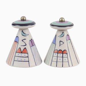 Postmoderne Salz- & Pfeffermühle aus Keramik von Kupfermühle Keramik, 1980er