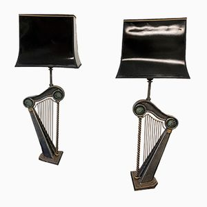 Vintage Harp Table Lamps by Janice Minor, 1990s, Set of 2