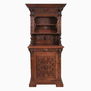 Tall Solid Oak Shelving Unit, 1880s