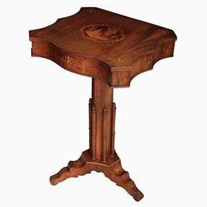 Rosewood Marquetry Inlaid Sewing Table, 1880s