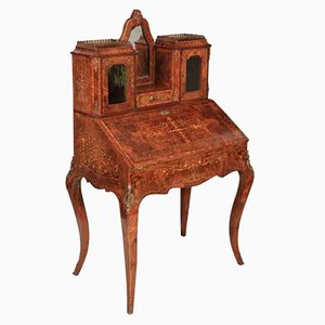 Walnut Marquetry Inlaid Bonheur Du Jour Writing Desk, 1880s