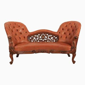 Victorian Walnut and Leather Double Spoon Back Sofa