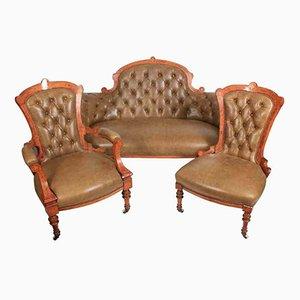 Juego de salón victoriano de nogal con incrustaciones de cuero y sofá con 2 sillas a juego