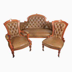 Victorian Walnut Inlaid & Leather Set with Sofa & 2 Matching Chairs