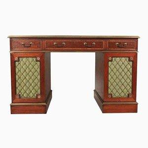 Partner-Schreibtisch aus Mahagoni & Messing, 1920er