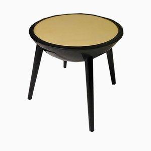 Tables d'Appoint Rondes Art Déco en Laque Noir et Cuir de Chèvre, 1940s, Set de 2