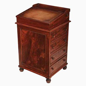 Small Flame Mahogany Davenport Desk, 1840s